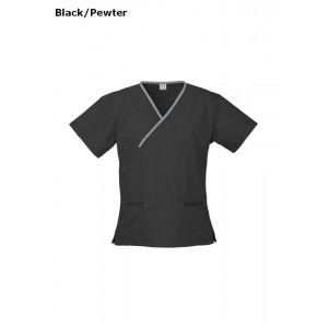 Womens Contrast Crossover Scrub Top