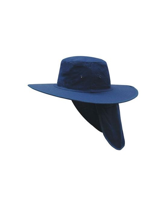 Canvas Wide Brim Hat With Flap