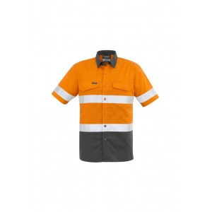 Syzmik Mens Rugged Cooling Taped Hi Vis Spliced S/S Shirt